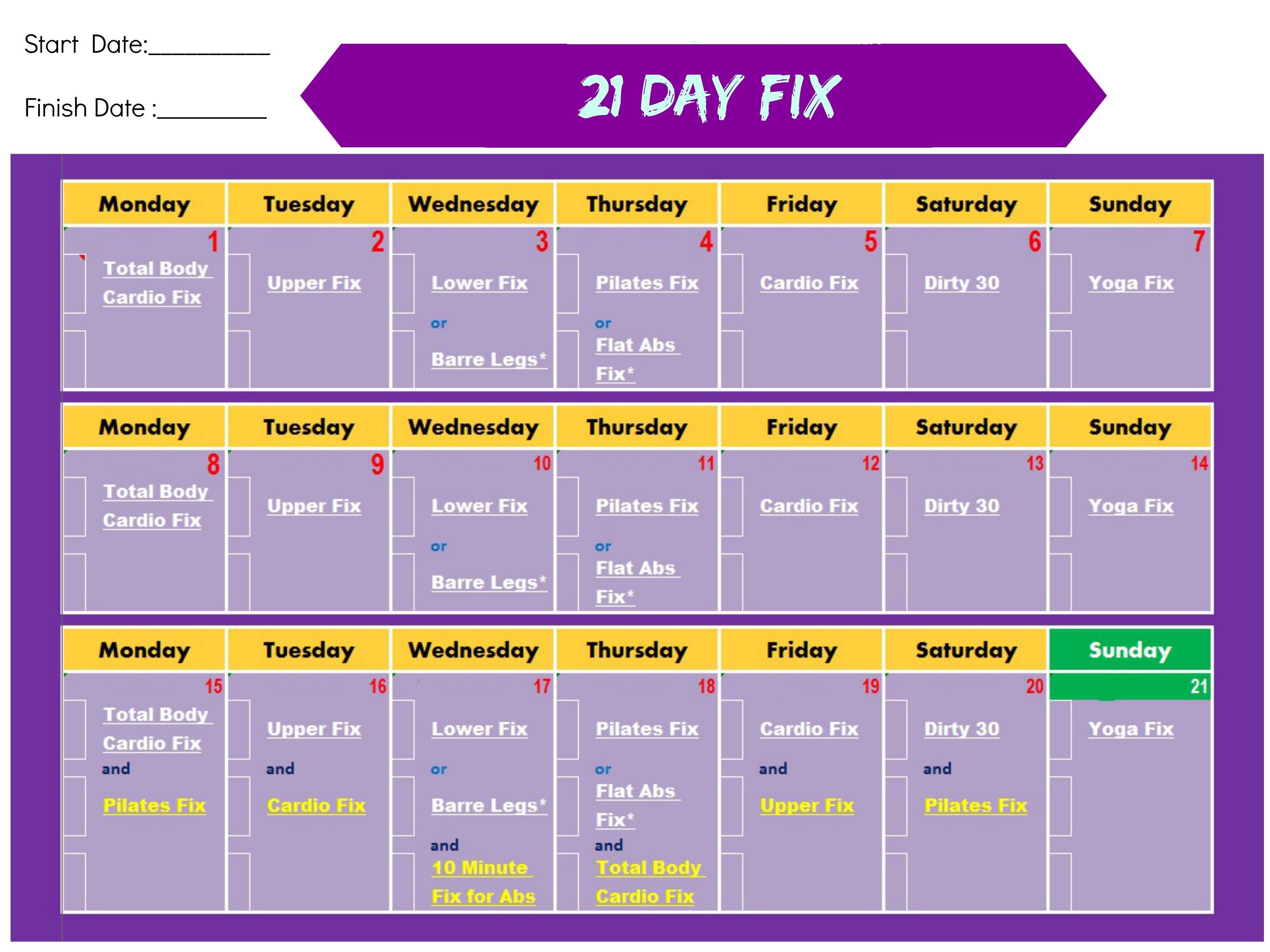 Calendario 21 Day Fix.21 Day Fix Come Rimettersi In Forma In 21 Giorni Con Autumn