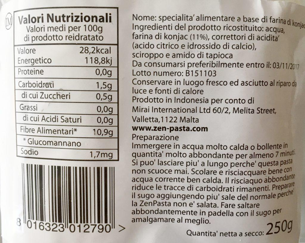 Valori Nutrizionali Spaghetti Shirataki ZenPasta